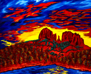 Fire in the Sky - A painting of Cathedral Rock