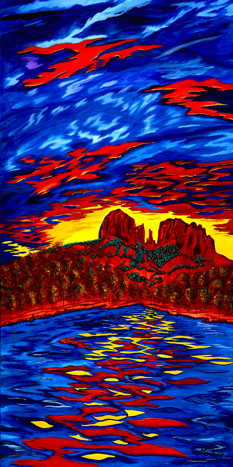 Fire in the Sky Original Sedona Painting of Cathedral Rock