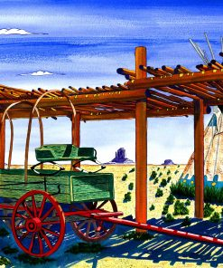 Navajo Palapa has Monument Valley on the horizon. A covered wagon and tee-pee complete this scene of a Palapa.in Taos, NM, next to the Rio Grande