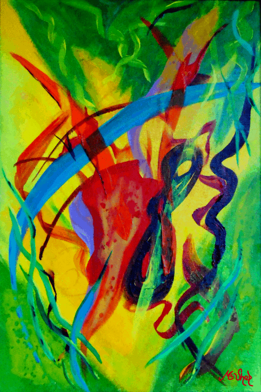 Abundance is a swirl of colors with Greens, Blues, Reds in a true Abstract form